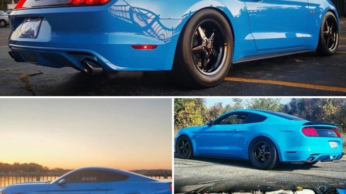 Check out this WICKED Grabber Blue S550 Mustang rocking the Dark Stars! #racesta...