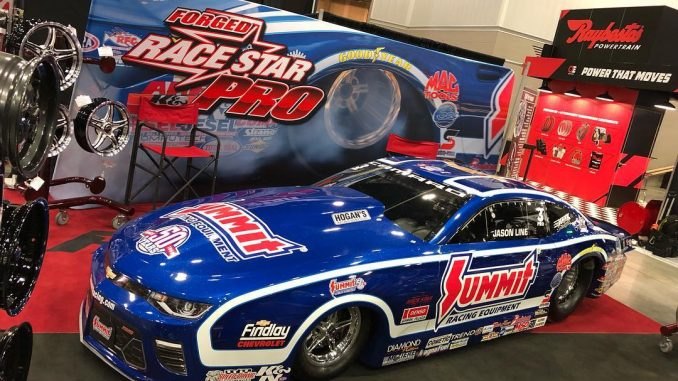 @jasonlineprostock's @NHRA Pro Stock #racestarwheelsequipped race car is all set...