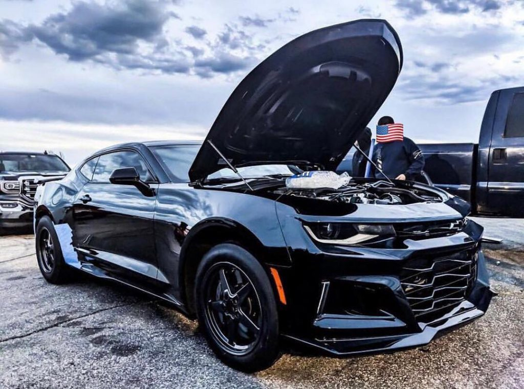 Very sinister looking pic of this black ZL1 Camaro owned by @tripleblkzl1. #race...