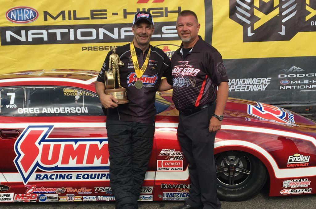 Greg Anderson and Greg Bennett - NHRA Winner's Circle