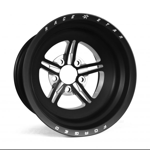 """63 Pro Forged 15x10 NBL Sportsman Black Anodized/Machined 5x4.50 BC 5.00"""" BS"""