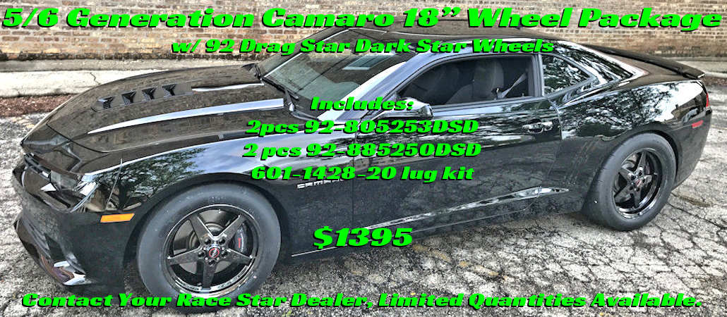 "5/6 gen Camaro 18"" Wheel Package with 92 Drag Star Dark Star Wheels"
