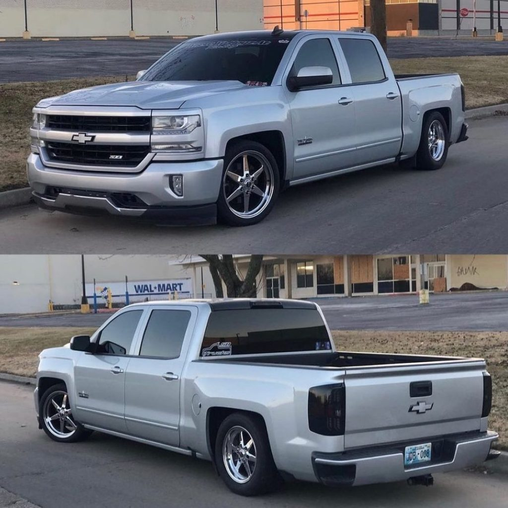 Great shot of @tnl_truckin's slammed Silverado race truck sitting on a set of ...